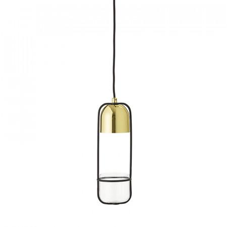 Lampe suspendue doré avec plante Bloomingville