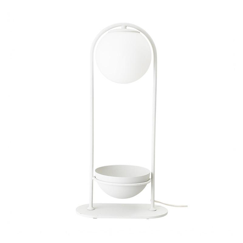 Lampe design porte plante en métal blanc