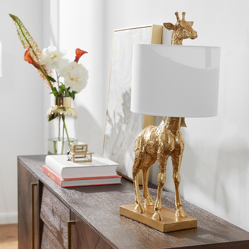 Lampe de table girafe doré Bloomingville