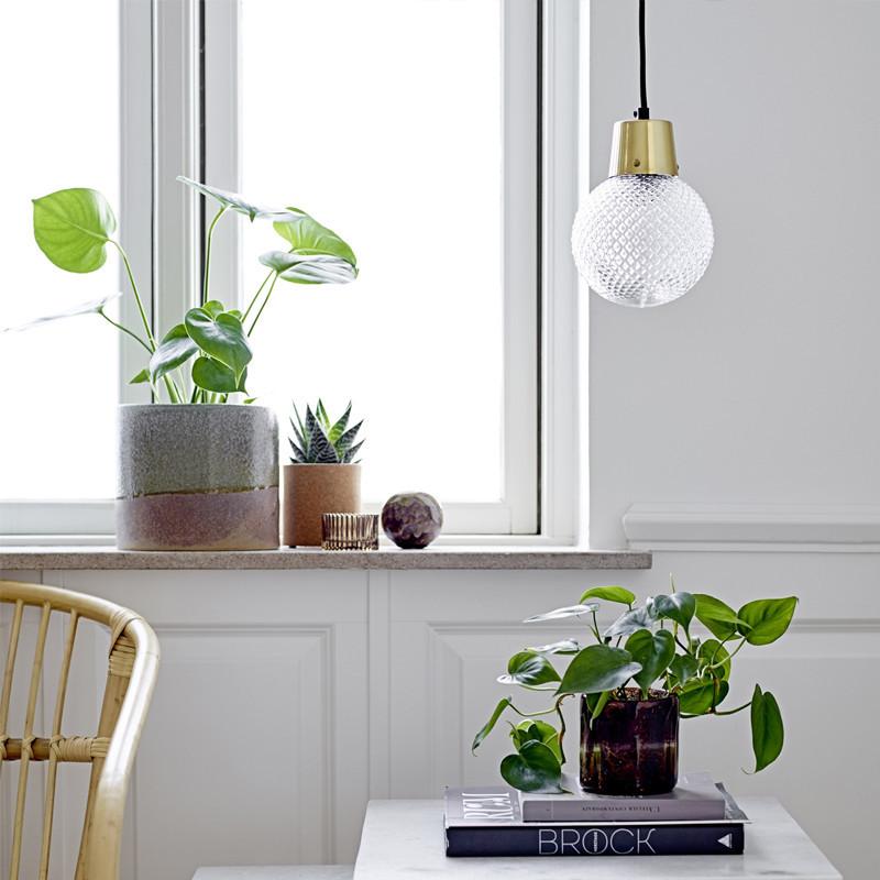 Lampe suspendue dorée et verre style art déco
