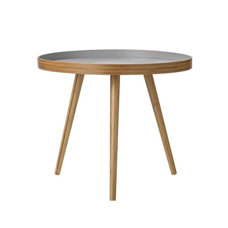 Table basse ronde grise en bambou scandinave