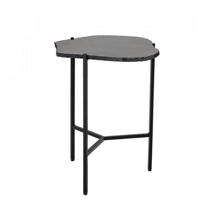 Bout de canapé design marbre noir - Trina