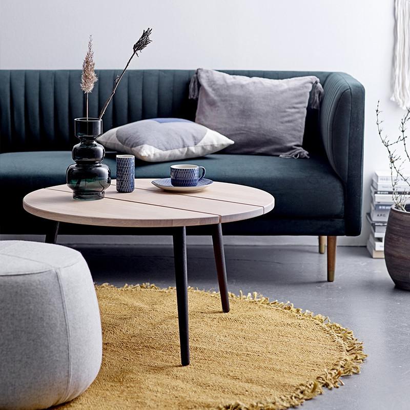 Table basse ronde en chêne et pieds métal noir