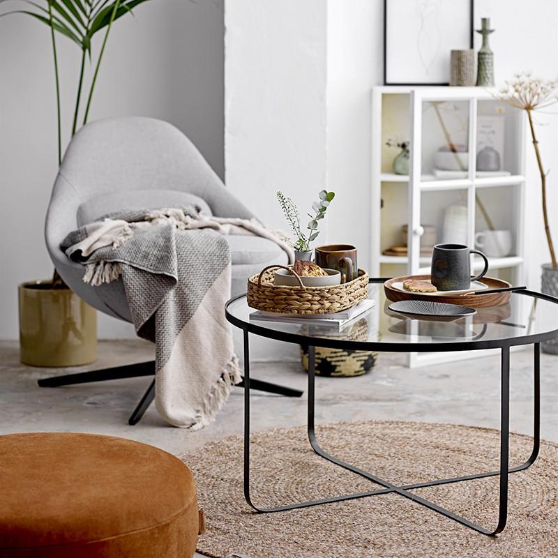 Table basse ronde en verre transparent et métal noir - Kia