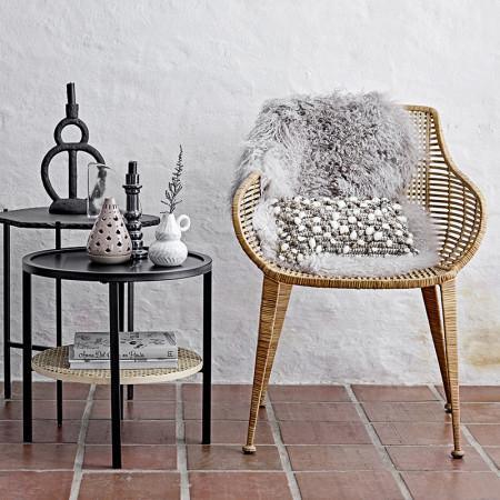 Bout de canapé design marbre noir