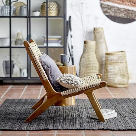 Fauteuil bas en rotin design et bois de teck Bloomingville - Casi