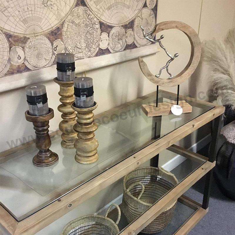 Meuble console verre, bois et métal 3 étagères - Kimi