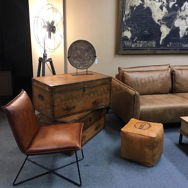 Petit fauteuil industriel cuir cognac - Syl