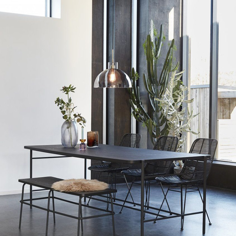 Banc de table noir métal et bois industriel - Chani