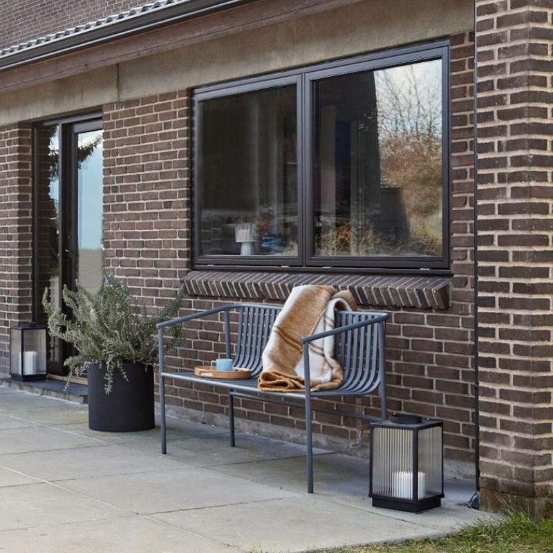 Banc de jardin métal gris design Hubsch - Trévor