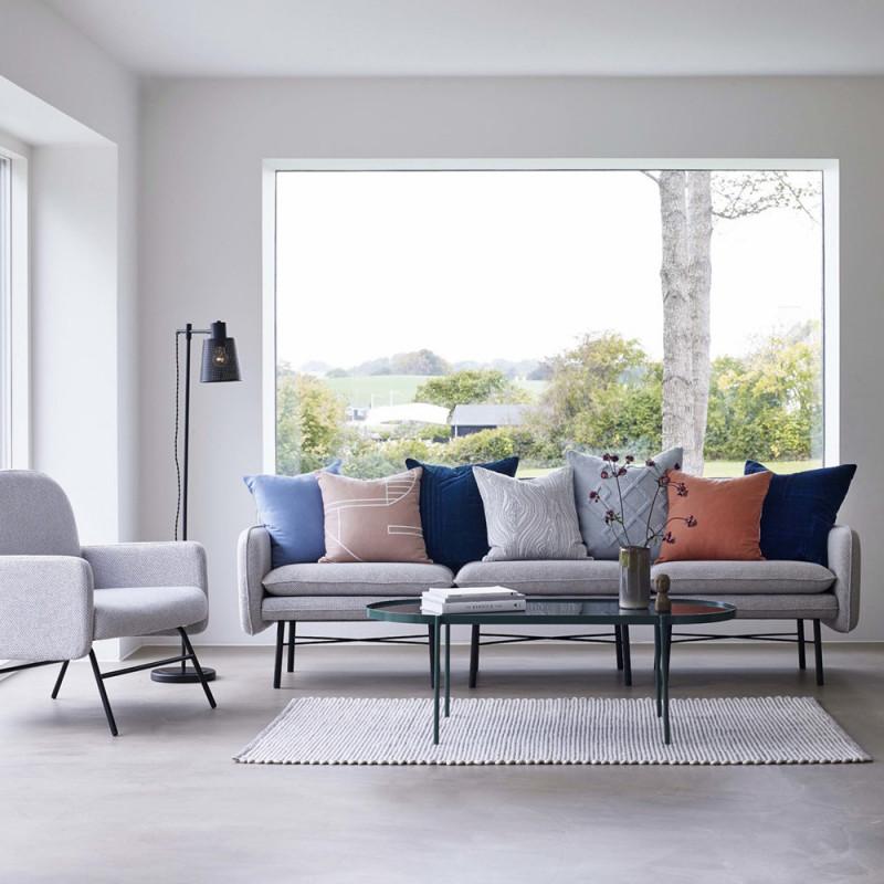 Canapé chauffeuse design tissu gris clair Hubsch - Clari