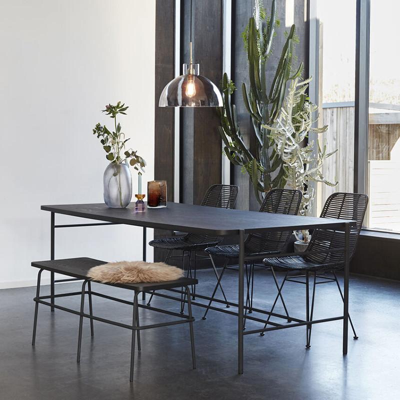 Chaise rotin noir design Hubsch - Chali