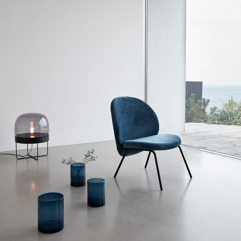 Fauteuil bleu velours design Hubsch - Cléo