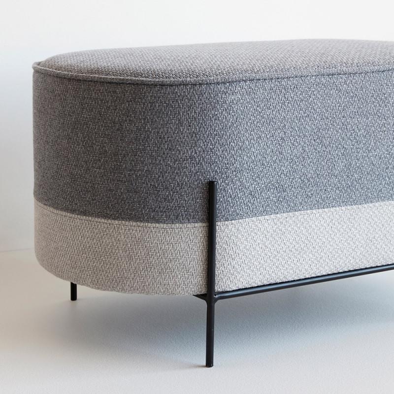 Pouf gris de salon design Hubsch - Poly
