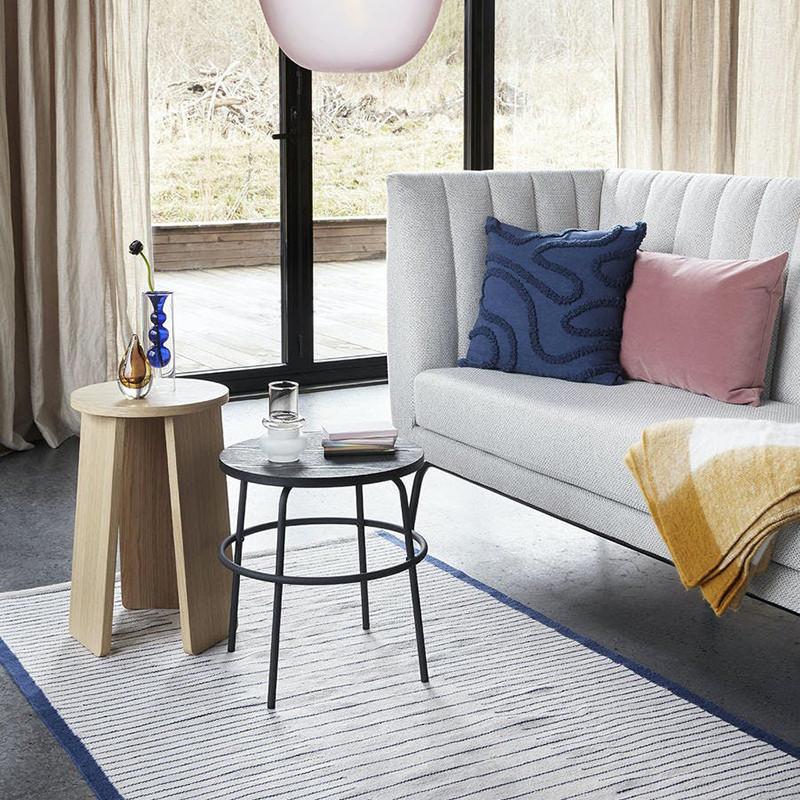 Tapis blanc et bleu design 180x120 Hubsch - Titren