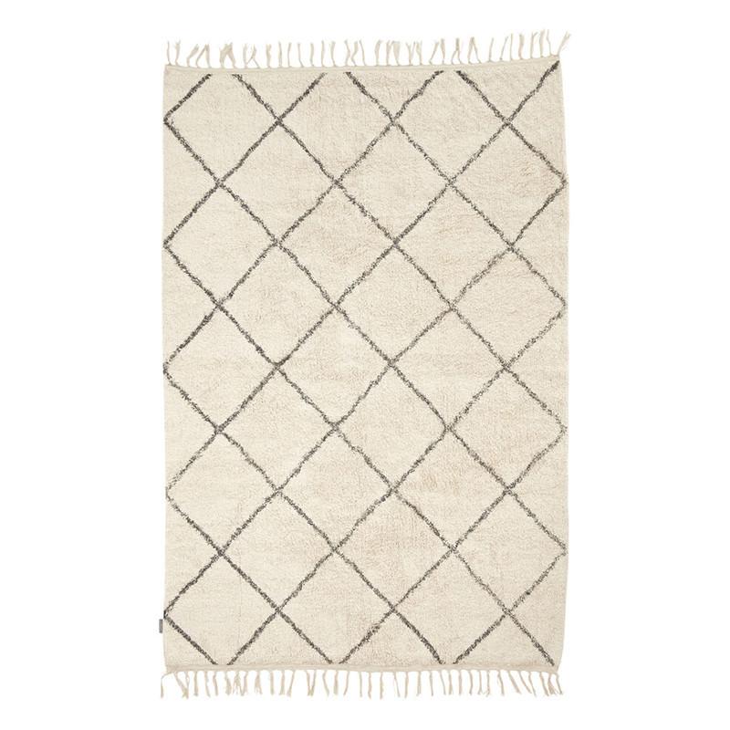 Tapis blanc et damiers gris bohème 180x120 - Madeline