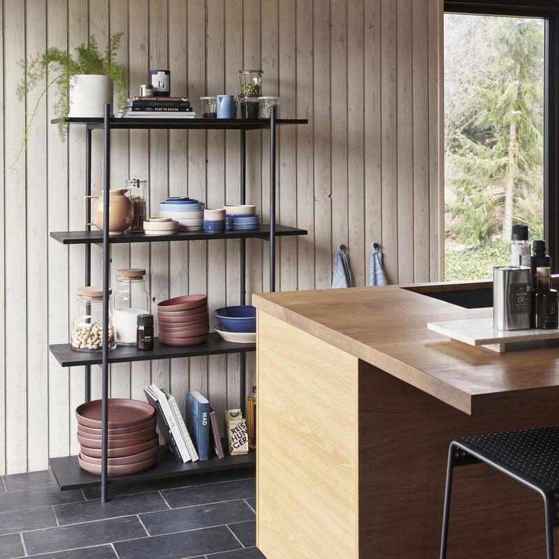 Meuble étagère noir en bois 4 étagères Hubsch - Chani