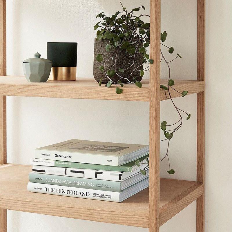 Bibliothèque meuble bois naturel 6 étagères - Sine