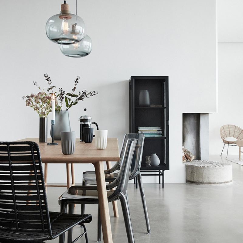 Petit meuble métal noir 1 porte Hubsch - Chani