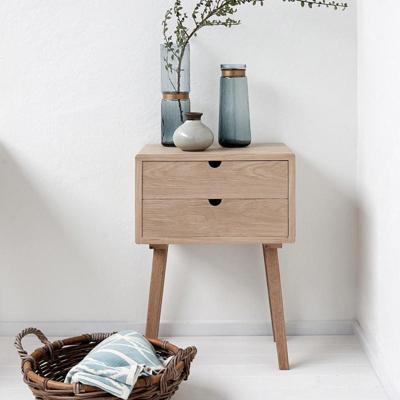 Table de chevet en bois 2 tiroirs Hubsch - Sine