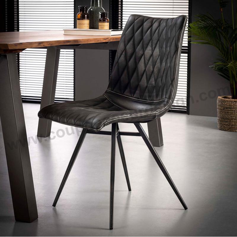 Chaise style industriel simili cuir gris vieilli matelassé - Bill