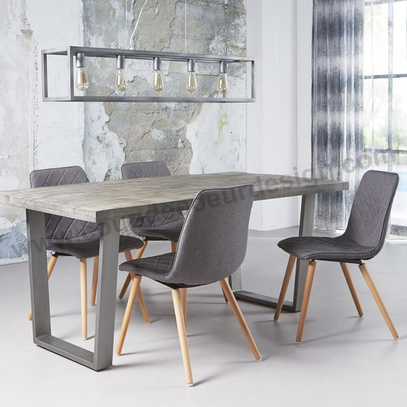 Chaise grise scandinave matelassée - Equinox
