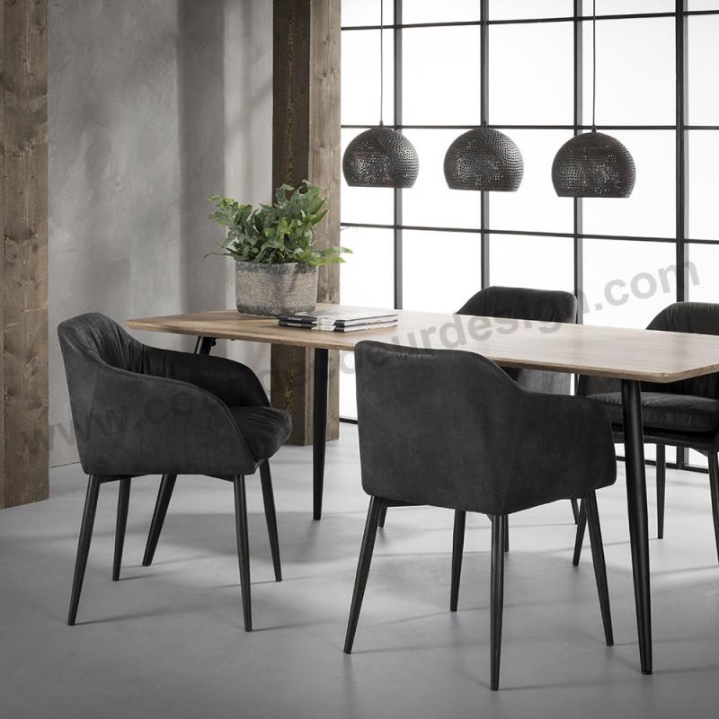 Chaise fauteuil design noir matelassée - Verzeni