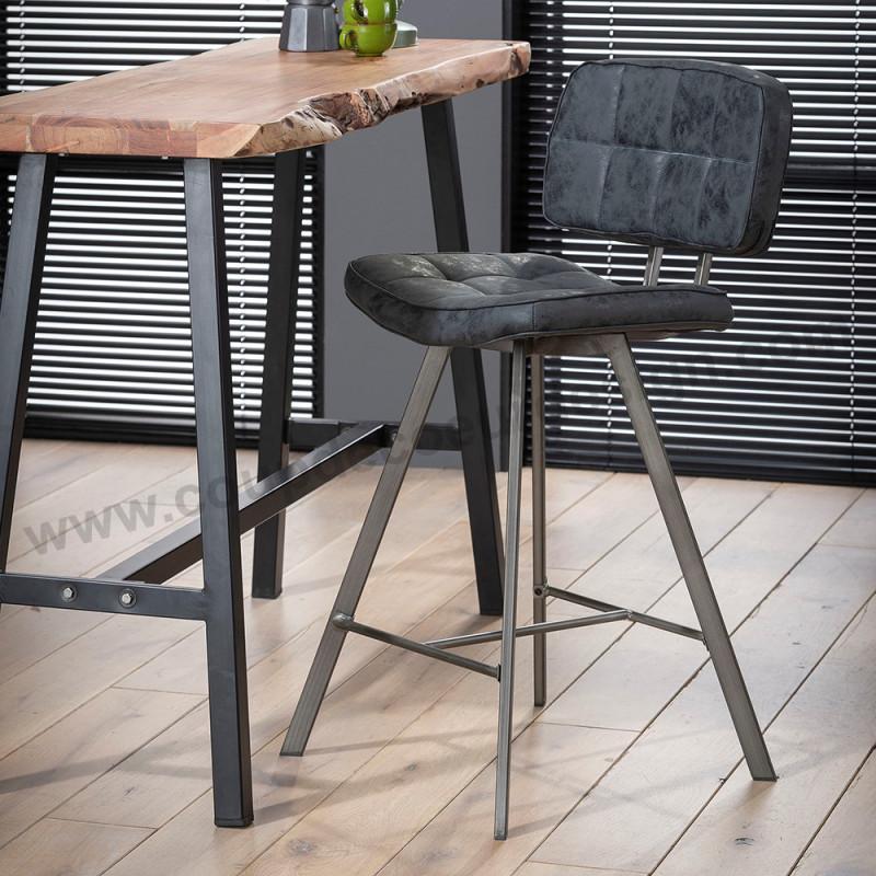 Tabouret de bar noir industriel vintage assise matelassée - Brux