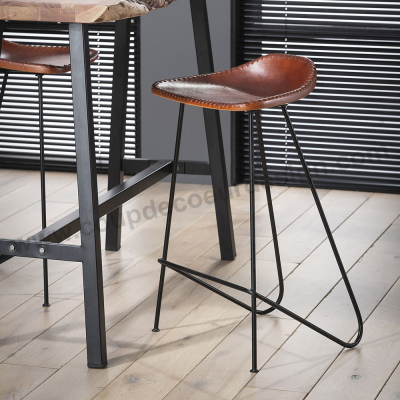 Tabouret de bar design en simili cuir vintage marron - Indus