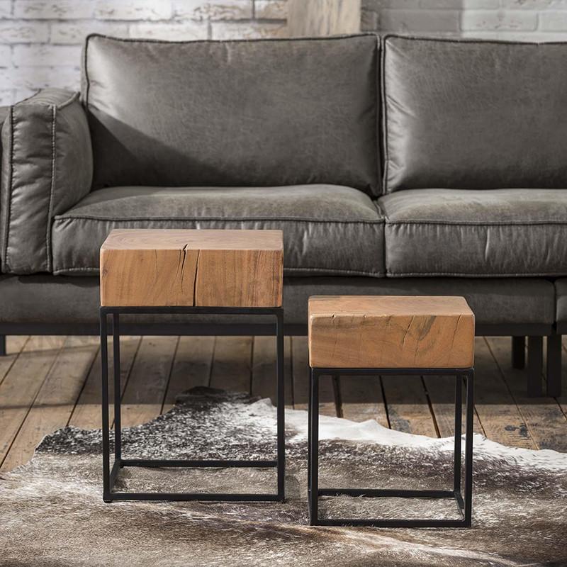 Bout de canapé design bois et métal - Acacia