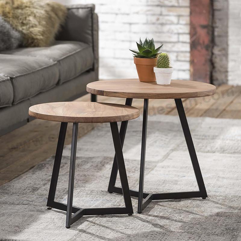 Table gigogne bois et métal design - Acacia