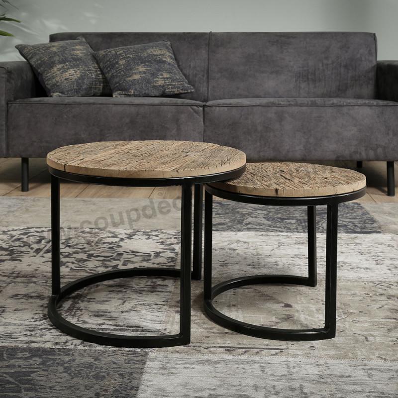 Bout de canapé bois brut et métal - Drift