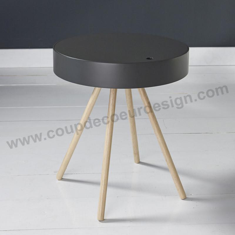 Bout de canapé coffre gris style scandinave - Scala