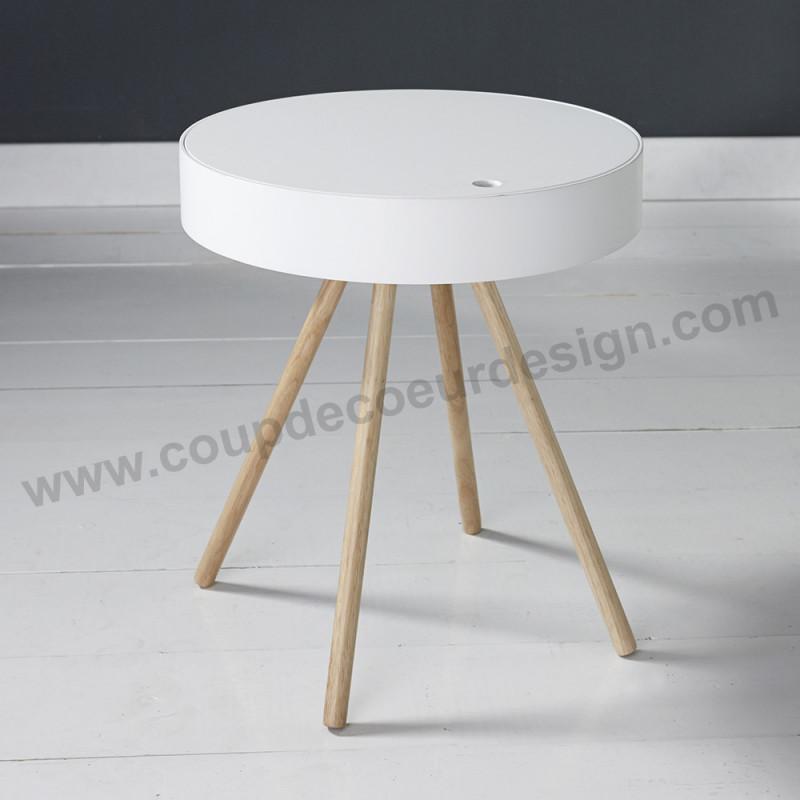 Bout de canapé coffre blanc style scandinave - Scala