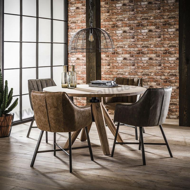 Table ronde réglable en hauteur bois style industriel - Acacia