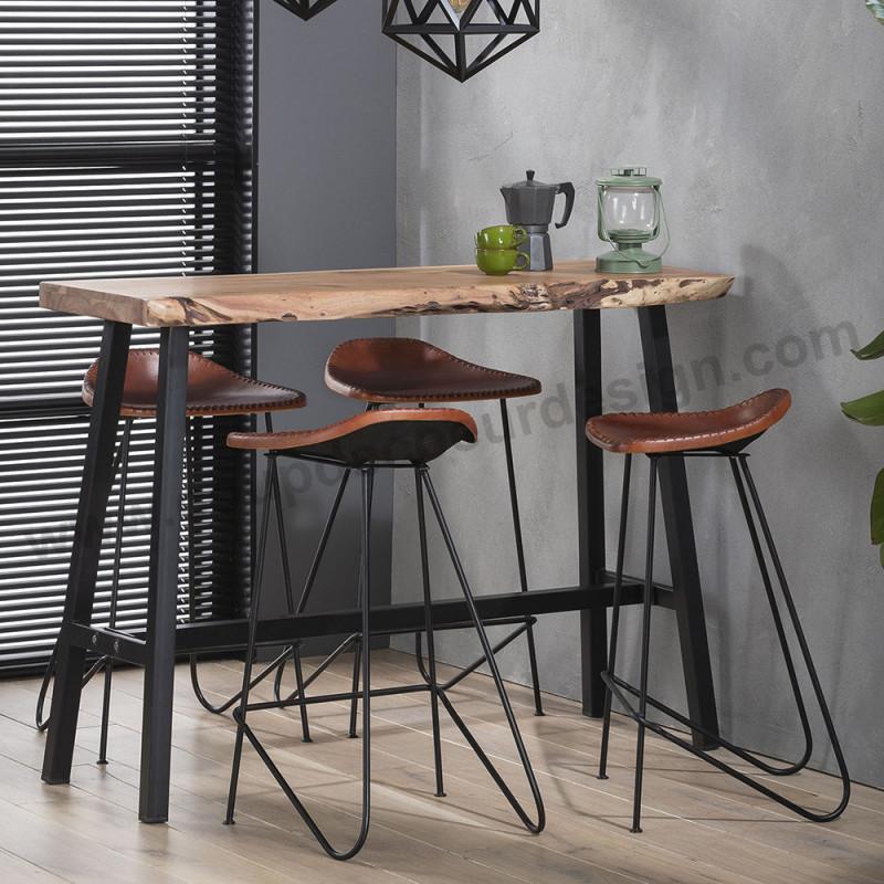 Table bar industrielle tronc d'arbre - Acacia