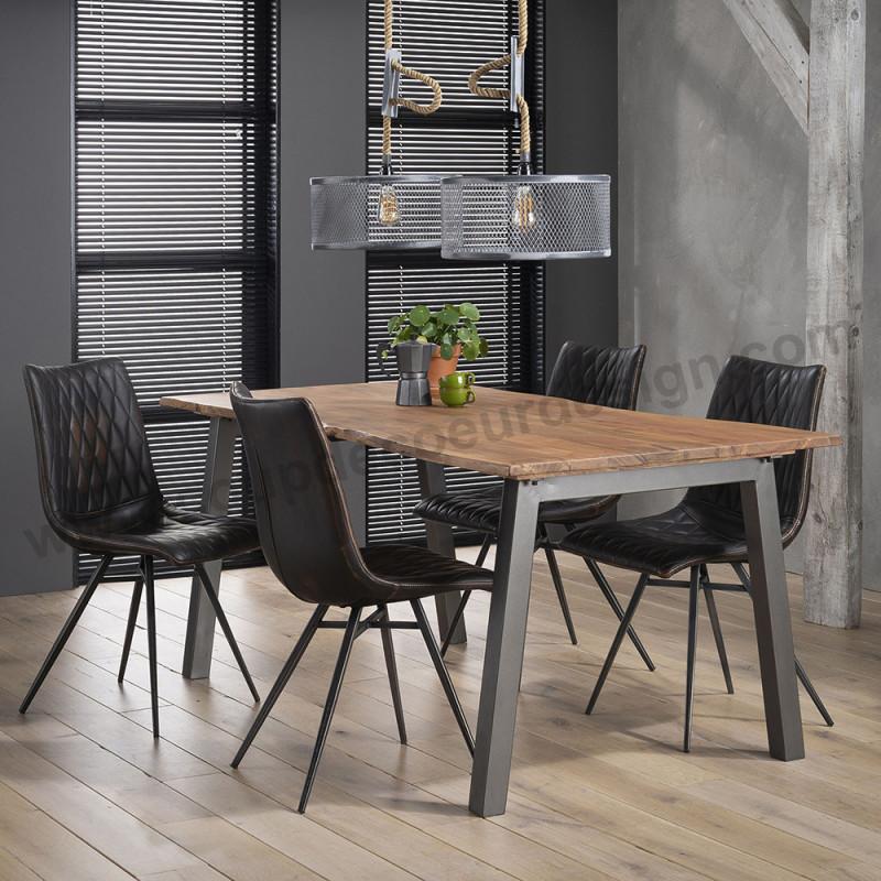 Table à manger tronc d'arbre style inndustriel - Acacia