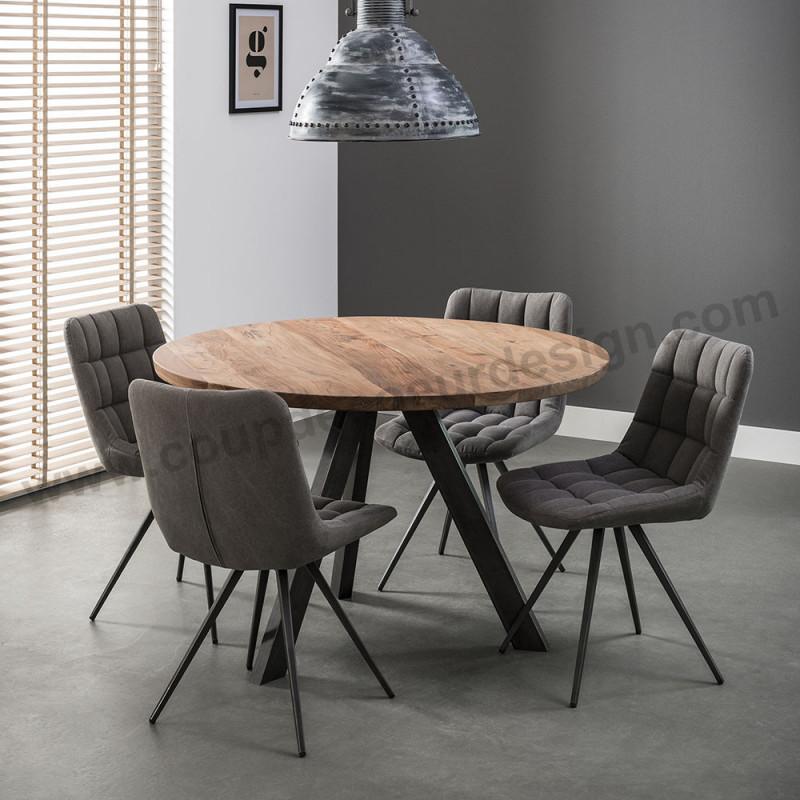Table ronde style industriel bois et métal - Acacia