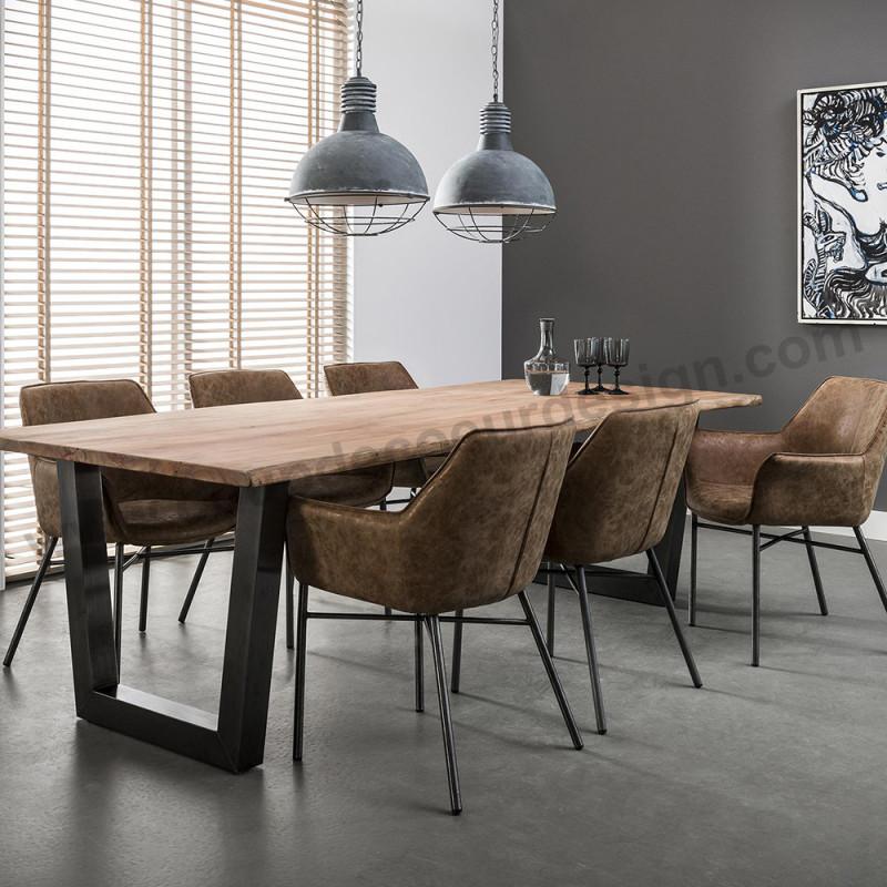 Table tronc d'arbre design bois brut pieds métal noir - Acacia