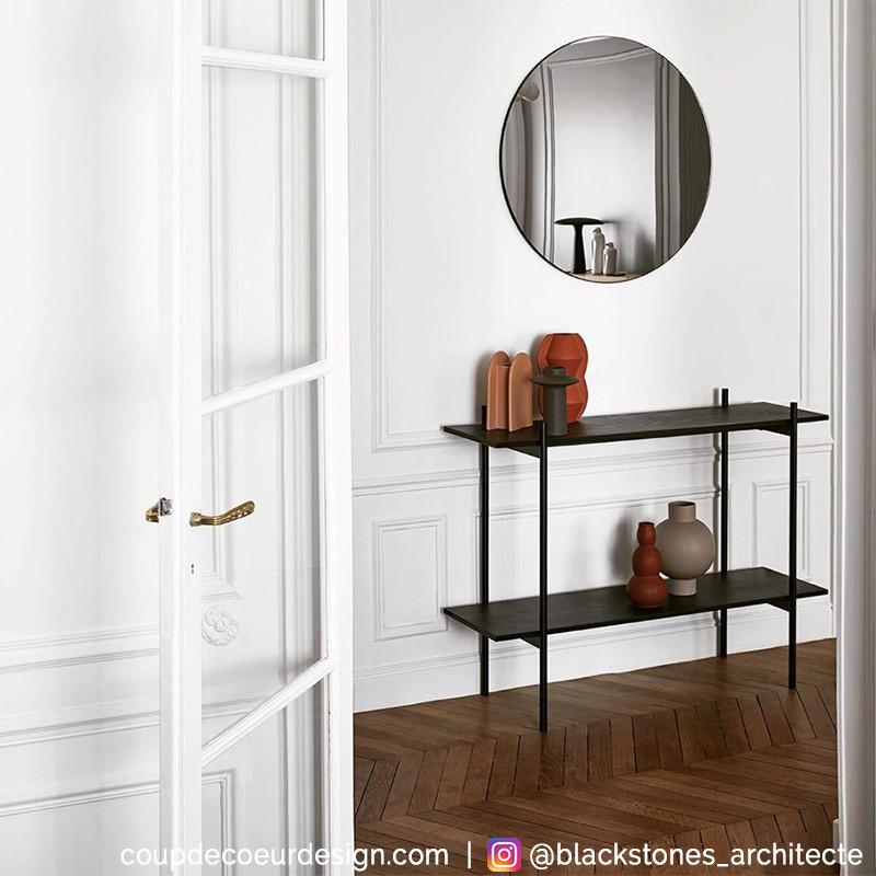Console meuble en bois et métal noir 2 étagères Hubsch - Chani