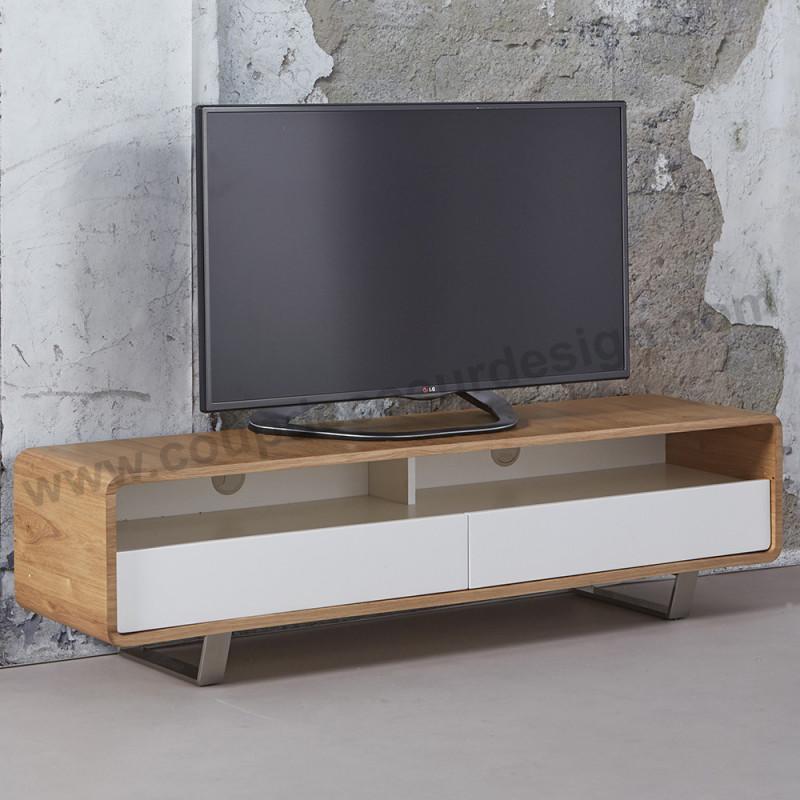 Meuble tv style scandinave bois et blanc - Warm