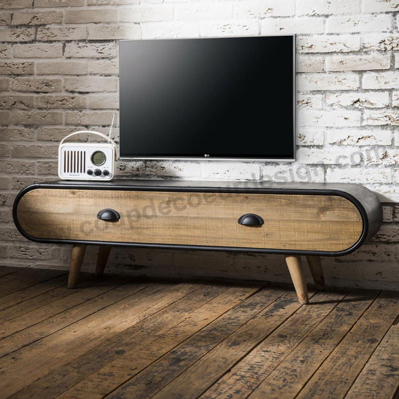 Meuble tv style industriel bois et métal - Warm