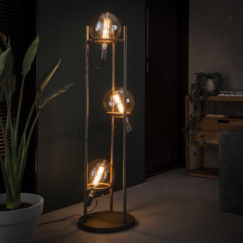 Lampadaire industriel design avec 3 ampoules déco - Pluton