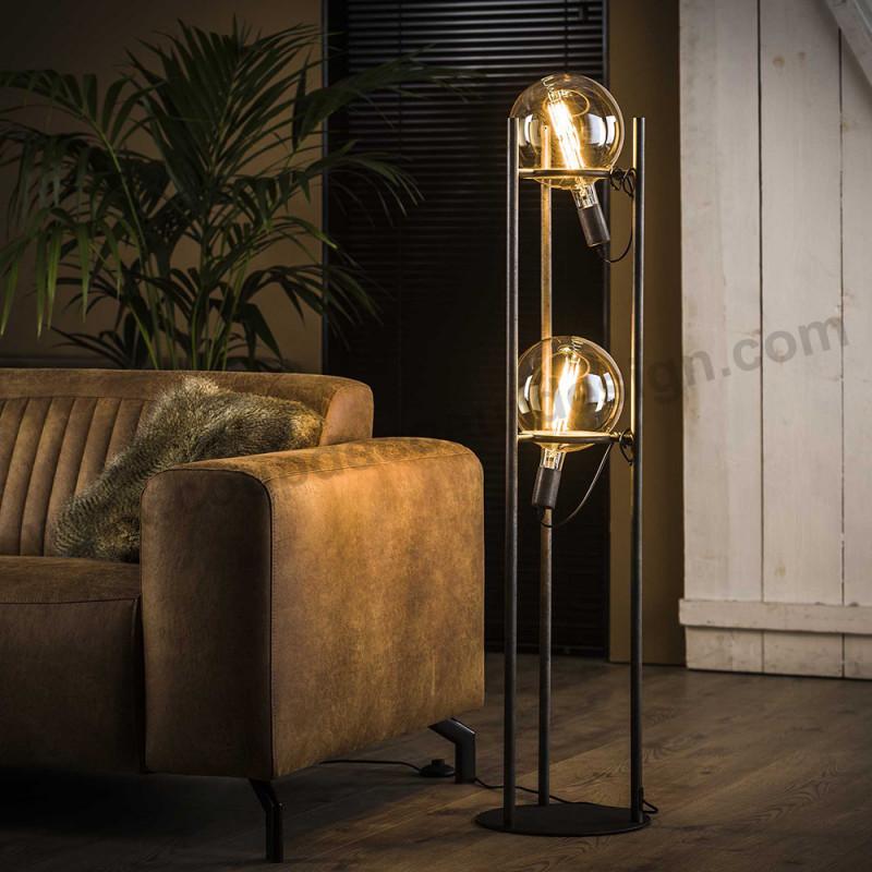 Lampadaire en métal style industriel avec 2 ampoules déco - Pluton