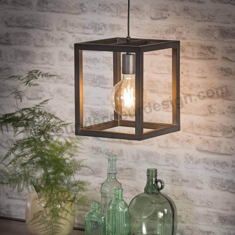 Luminaire suspension industriel vintage en métal - Club