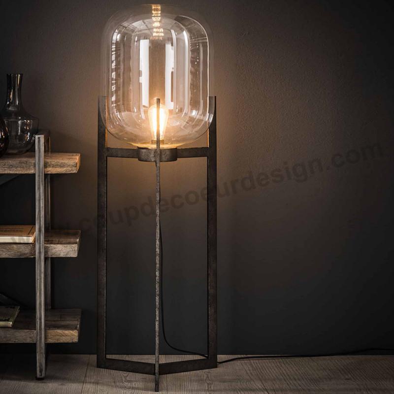 Lampadaire globe en verre sur pied métal style industriel vintage - Hal