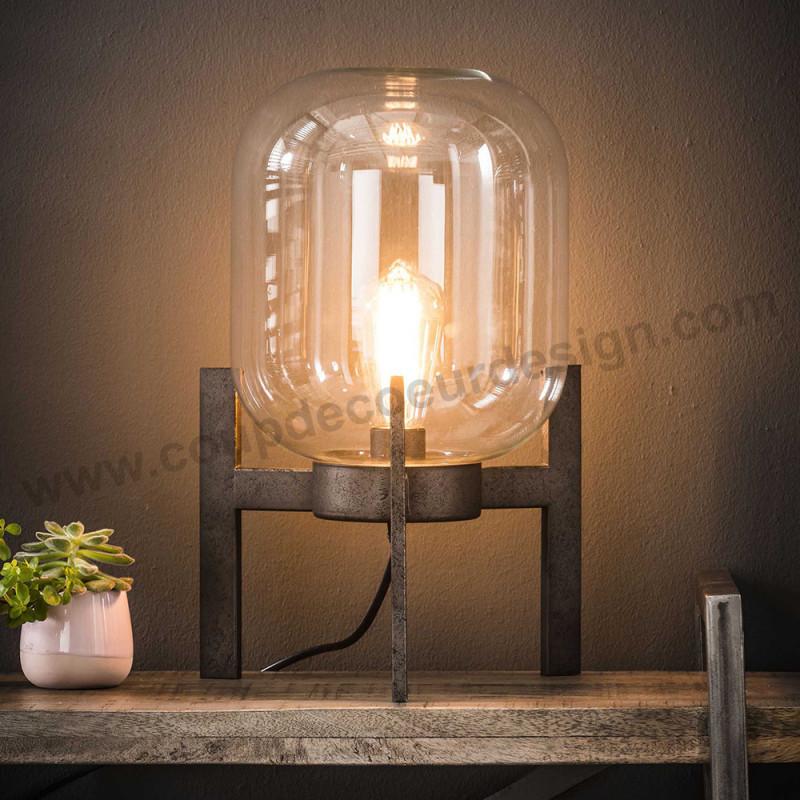 Lampe de table en verre sur pied métal style industriel - Hal