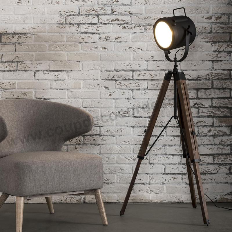 Lampadaire projecteur design bois vintage - Pixar