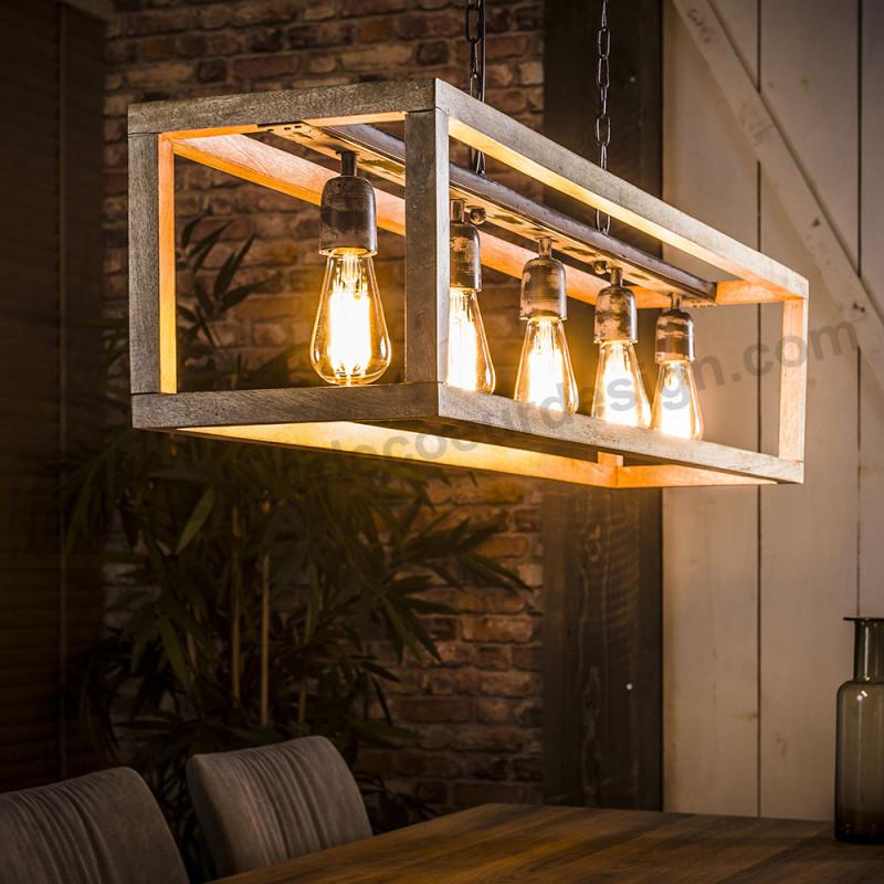 Suspension luminaire bois 5 ampoules - Londo