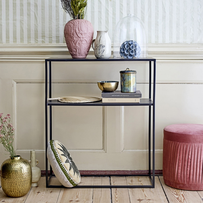 Petit meuble console en metal noir Bloomingville - Curly